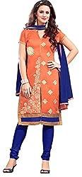 Khushali Presents Straight Dress Material(Orange,Blue)