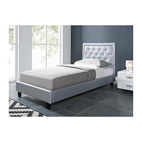 Filip cama niño sintética y brillantes + somier 90x 190cm-Color Plata