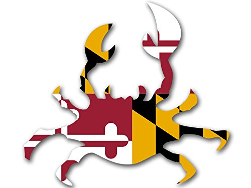CRAB Shaped MARYLAND Flag Sticker (shape decal