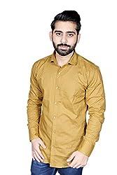 Strak Men's Cotton Polka Print Party Shirt (MC598271_40_Medium_Brown)