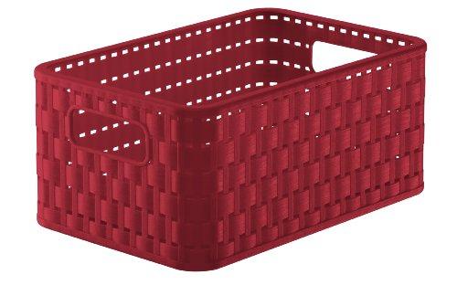 1115202255 Aufbewahrungskiste Dekobox Country in Rattan-Optik aus Kunststoff (PP), Format A5, Inhalt ca. 6 l, ca. 28 x 18.5 x 12.6 cm (LxBxH), rot