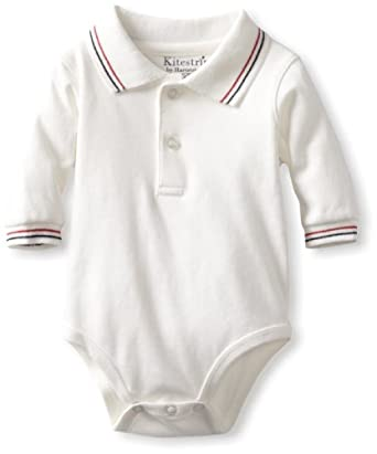 Kitestrings Baby-Boys Newborn Interlock Polo Bodysuit, Marshmallow, 0-3 Months