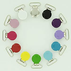 """12 Starter Pack Enamel Round Face 1"""" Suspender Clips with Rectangle Inserts for Soother/Paci/Pacifier/Dummy/Bib/Toy Holder Clips"""
