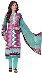Lebaas Blue and Pink Pure Cotton With Embroidery(With Discount and Sale Offer)