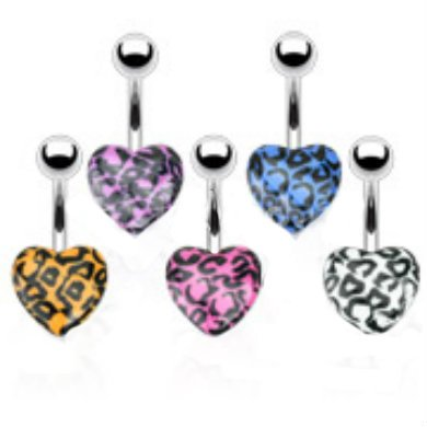 316L Surgical Steel Navel Ring With Leopard Print Acrylic Hearts,Purple:Sold Individually
