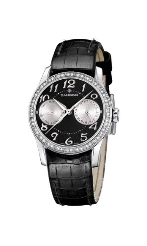 Candino Women's Quartz Watch with Black Dial Analogue Display and Black Leather Strap C4447/6