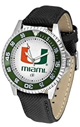 Miami Hurricanes Suntime Competitor Poly/Leather Band Watch - NCAA College Athletics