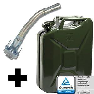 Benzinkanister Kraftstoffkanister Reserve Kanister aus Metall 20 Liter 20L + Ausgießer flexibel