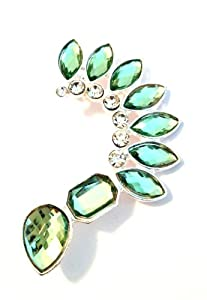 Light Mint Green Teardrop Spike Acrylic Jeweled Ear Cuff