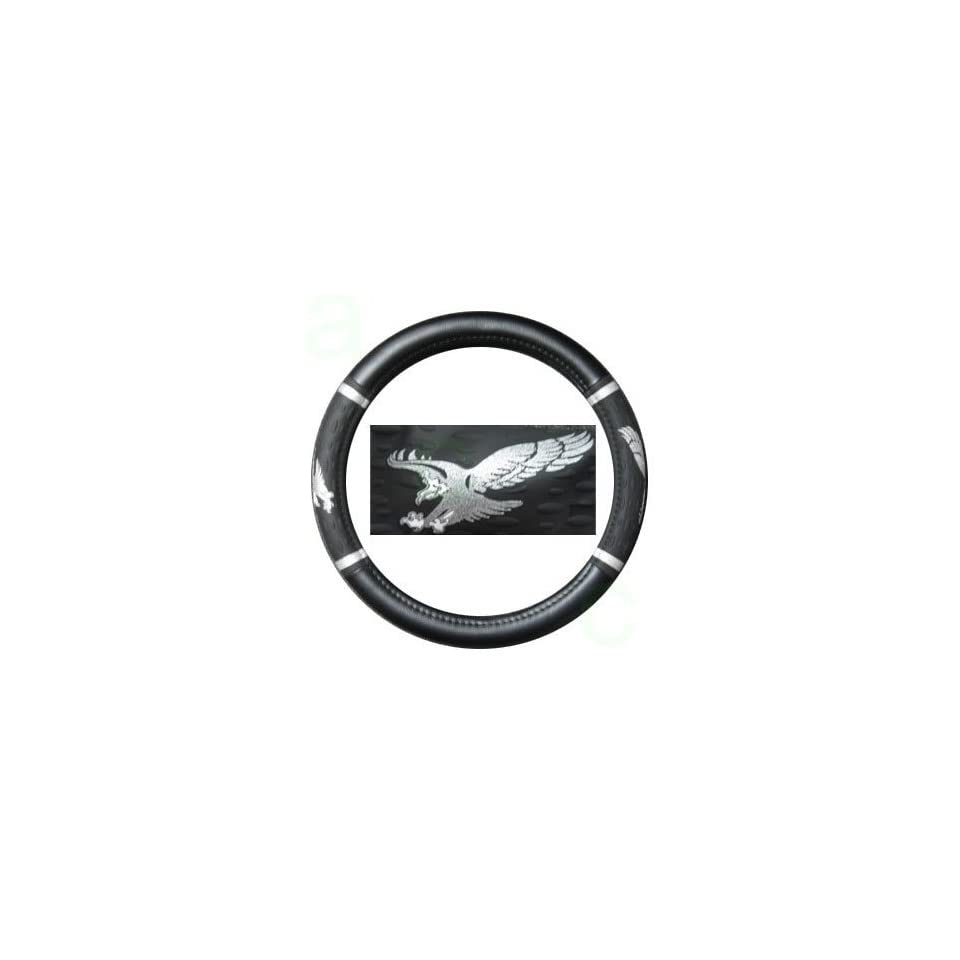 Comfort Grip Steering Wheel Cover   American Eagle Spread Wings Silver Automotive