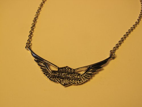 MOTORCYCLE HARLEY STYLE BIKER JEWELRY EAGLE WING WITH BAR & SHIELD NECKLACE PENDANT WITH CHAIN
