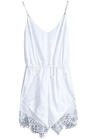 Fire Loli Women's Lace Chiffon Sleeveless Jumpsuit Rompers White