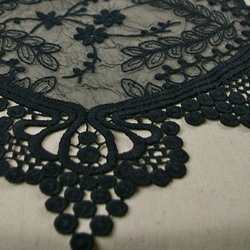 Black Lace Table Runner, Vintage Wedding Decor, 12 x 74 inches