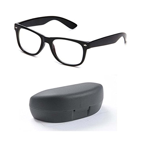 Younky Unisex Black Wayfarer Eye Glasses (BIGWAY-CLR-003) (Black Frame - Clear Lens)  available at amazon for Rs.120