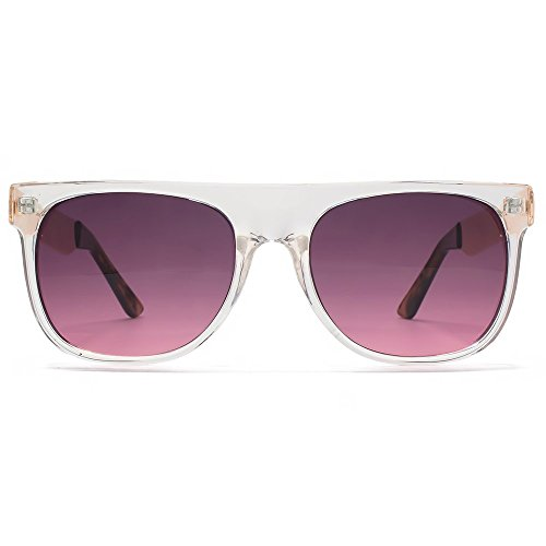 Miss KG Flat Top Sunglasses With Metal Temples in Crystal Clear Rose Gold MKG025