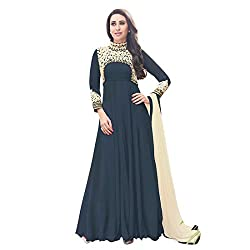 Regalia Ethnic New Collection Dark Gray Embroidered Georgette Semistitched Dress Material With Matching Dupatta