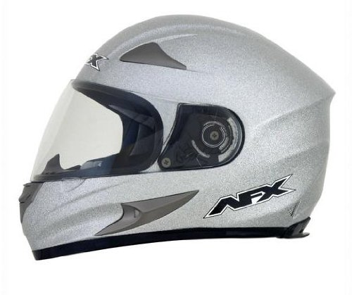 AFX FX-90 Solid Helmet , Distinct Name: Silver Metallic Flake, Gender: Mens/Unisex, Helmet Category: Street, Helmet Type: Full-face Helmets, Primary Color: Silver, Size: Md 0101-6941