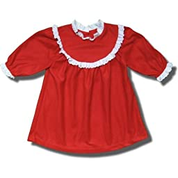 Red Polyester Fleece Nightgown with Lace Collar, Cuffs for Infants - 24 Months