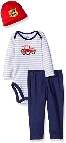 Gerber Baby Boys' 3 Piece Bodysuit, Cap, and Pant Set, Firetruck, 3-6 Months