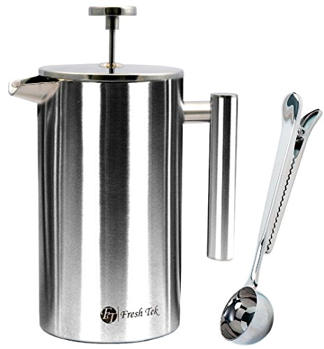 FreshTek Stainless Steel French Press Coffee Espresso Maker with Scoop and Polishing Cloth - 34 oz - Silver