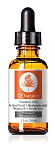 OZ Naturals - THE BEST Vitamin C Serum For Your Face - Organic Vitamin C + Amino + Hyaluronic Acid Serum- Clinical Strength 20% Vitamin C with Vegan Hyaluronic Acid Leaves Your Skin Radiant & More Youthful By Neutralizing Free Radicals. This Anti Aging Serum Will Finally Give You The Results You've Been Looking For! 1 Ounce