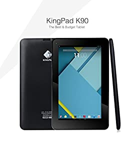 KingPad® K90 9'' Quad Core Tablet PC, Google Android 4.4.4 KitKat, 8GB Nand Flash, Dual Camera, Touch Screen, 1024x600 HD Resolution, Bluetooth®, Mini HDMI, Netflix, Skype, 3D Game Supported [ 2015 Model ]