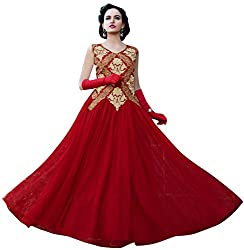 Georgette Gown Unstiched Dress Material (DV187-10007_Red)
