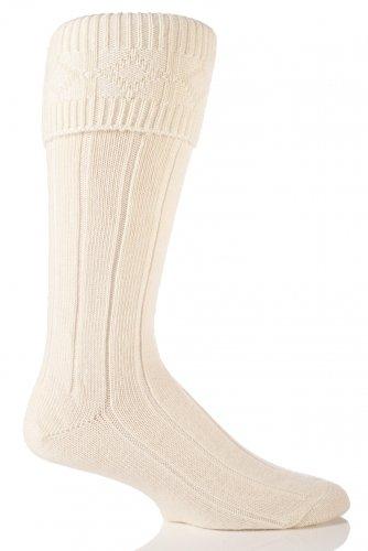 Mens Wool Blend Knee High Wedding Formal Kilt Socks Cream