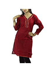 Fashion Freaks Red Cotton Printed V-neck Kurti - B00R7O6EPC