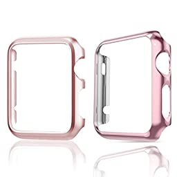 Apple Watch Case,TitanFan [Set of Two] Super Thin Polycarbonate Hard Protective PC Plated Cover Case With Slim Premium Aluminum Protective Case For Apple Watch (38mm Apple Watch - Rose Gold Set)