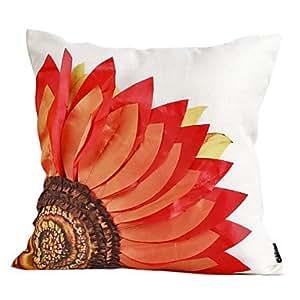 country flower red cotton dekorative kissenbezug amazon. Black Bedroom Furniture Sets. Home Design Ideas
