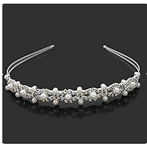 Wedding Party Bridal Flower Girl Double Faux Pearl Crown Headband Tiara