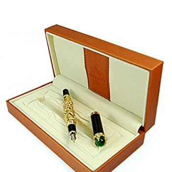 Luxury Golden Chinese Ming Dynasty Emperor Style Dragon Play Jade Ball Fountain Pen Fine Tip
