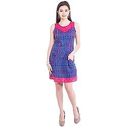 TUNTUK Women's Haley Dress Blue Cotton Dress