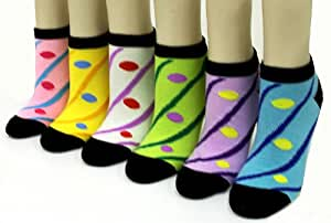 Dots and Stripes Ankle Socks (6 pack) - Womens Low Cut Socks (Size 9-11)