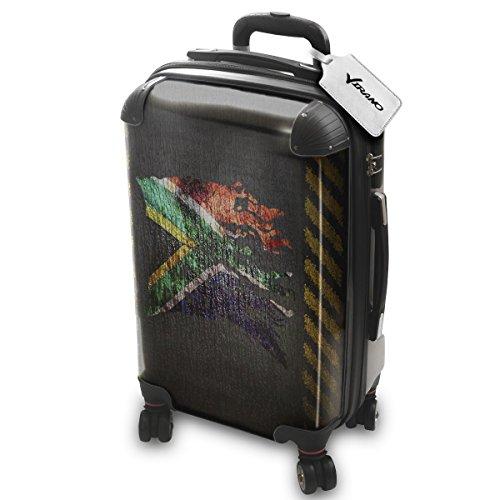Drapeau Déchiré Afrique Du Sud, Luggage Bagage Trolley Valise de Voyage Rigide, 360 degree 4 Roues Valise avec Echangeable Design Coloré. Grandeur: Adapté à la Cabine S