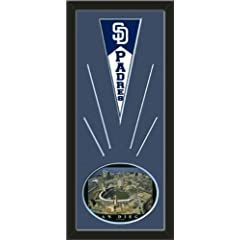 San Diego Padres Wool Felt Mini Pennant & PETCO Park Photo - Framed With Team... by Art and More, Davenport, IA