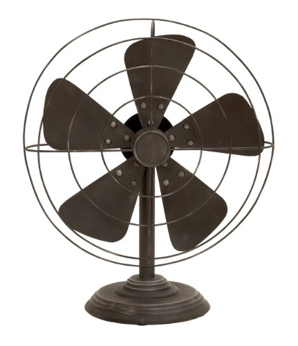Deco 79 Decorative Vintage-Style Fan(Decor only) 0