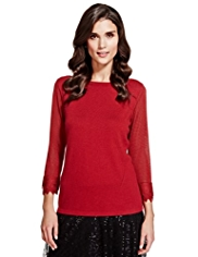 Per Una Layered Sleeves Knitted Top with Wool