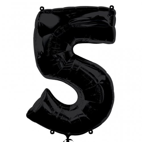 "Foil Balloon 34""Number 5 - Black - 1"