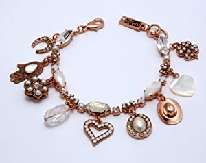 Amaro 'Pearl Gem' Collection 24K Rose Gold Plated Bracelet with Stones and Swarovski Crystals