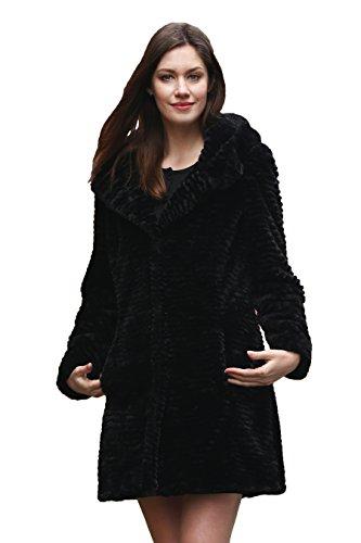 Adelaqueen Women's Black Karakul lamb Faux Fur Coat Middle Length with Hood L (Fur Hood Coat compare prices)