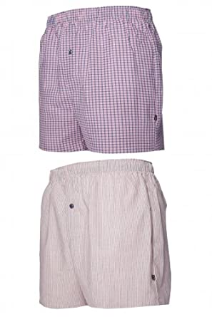 Mens 2 Pair Farah Classic 100% Cotton Check And Stripe Woven Boxers In Raspberry - Small - Raspberry / Navy