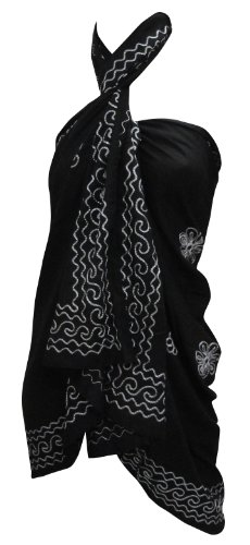 La Leela Black Designer Chain Stitched Embroidered Beach Sarong Pareo Wraps