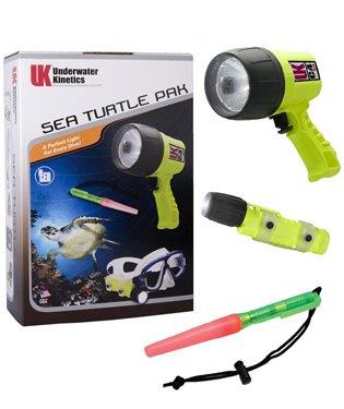 UK Sea Turtle Pak Scuba Dive Light Set with C4 eLED, Mini Q40 eLED and Dive Beacon