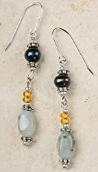 Kiwi Jasper and Pearl Earrings