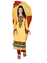 Parinaaz fashion Georgette Yellow unstitched salwar suit dress material