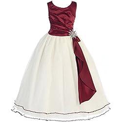 GEORGE BRIDE Abito da sera del vestito da damigella d'onore ragazza abiti Flower Girl Dress bambini GE092 ,12years,burgundy