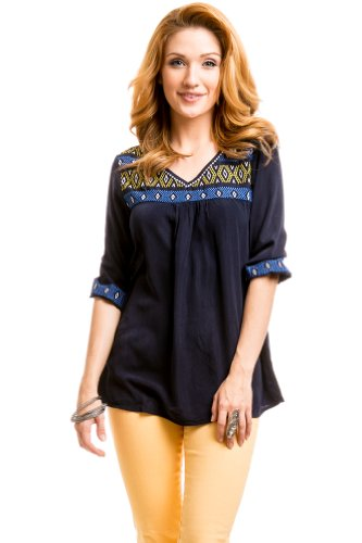 Multicolored Stitched Bust Peasant Top in Navy Blue