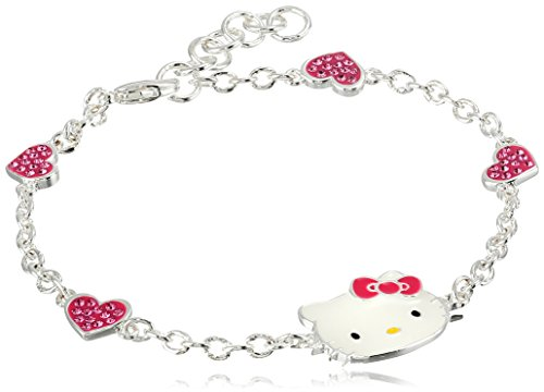"Hello KittyHello Kitty Girls Crystal Heart and Enamel Face Bracelet, 7"""